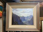 Sale 8702 - Lot 2046 - Artist unknown -  Blue Mountains, oil on canvas board, 63 .5 x 73cm (frame size), signed lower right