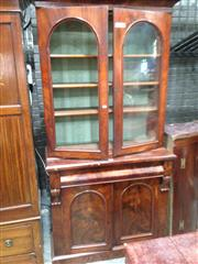 Sale 8740 - Lot 1526 - Victorian Mahogany Bookcase, with two arched glass panel doors, long drawer & two panel doors below