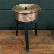 Sale 8758 - Lot 12A - Early Copper Steam Bath having variable sized circular supports resting on a raised metal stand