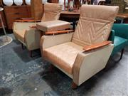 Sale 8872 - Lot 1012 - Pair of Vintage Vinyl Armchairs with Raised Timber Arms Together with Pair of Footstools (4)