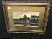 Sale 8990 - Lot 2027 - C Bates Sundown in the Country, c1880-1890s oil on board, 43 x 56cm (frame), signed lower left -