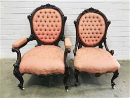Sale 9097 - Lot 1015 - Pair of Victorian Walnut Gentlemans & Ladys Chairs, upholstered in pink buttoned floral fabric & raised on cabriole legs (h:95 x w...