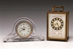 Sale 9119 - Lot 521 - Waterford crystal desk clock (L:17cm) together with French reproduction carriage clock (H:12cm)
