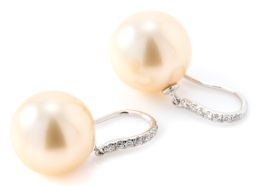 Sale 9140 - Lot 347 - A PAIR OF CHAMPAGNE SOUTH SEA PEARL AND DIAMOND EARRINGS; each a 13mm round cultured pearl of good deep champagne colour and lustre...