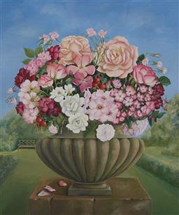 Sale 9141A - Lot 5001 - CHARLOTTE THODEY (1951 - ) Bouquet in Classical Urn oil on board 70 x 60 cm (frame: 84 x 73 x 5 cm) signed lower right