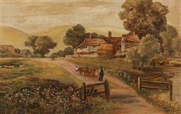 Sale 9256A - Lot 5117 - V. LODER Farmyard at Sunset, 1907 oil on canvas 34.5 x 54.5 cm (frame: 51 x 71 x 6 cm) signed and dated lower right