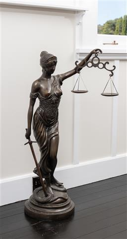 Sale 9248H - Lot 218 - A large bronze statue of Justice height 122cm