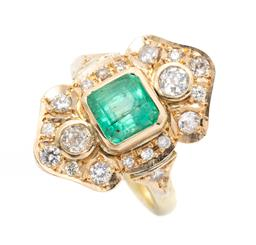 Sale 9253J - Lot 386 - AN 18CT GOLD EMERALD AND DIAMOND RING; centring a  bezel set square emerald cut emerald of approx. 1.94ct (chipped culet) to 2 colle...