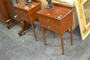 Sale 7981A - Lot 1096 - Pair Timber Two Drawer Side Tables