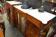Sale 8093 - Lot 1768 - Victorian Burr Walnut & Inlaid Sideboard with Mirrored Doors & Sectioned White Marble Top