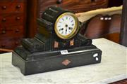 Sale 8093 - Lot 1780 - Black Slate Mantle Clock (key and Pendulum in Office)