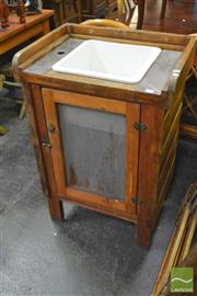 Sale 8277 - Lot 1057 - Rustic Timber Wash Basin with Single Mesh Door