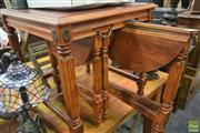 Sale 8277 - Lot 1069 - Carved Timber Occasional Table with Two Slide Out Tables Below