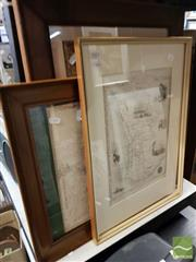 Sale 8491 - Lot 2083 - 2 x Early Australian Maps, decorative prints and Alphabet Tapestry, each framed, various sizes