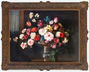 Sale 8562A - Lot 31 - Albert Sherman - Still Life with Vase of White Rose and Tulips 62 x 82cm