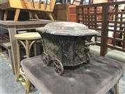 Sale 8697 - Lot 1620 - Rare Victorian Tole Cellarette on Wagon Wheels, original destressed finished, with stamped label for William S Burton, Oxford St & N...