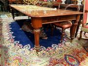 Sale 8693 - Lot 1061 - Victorian Style Mahogany Extension Dining Table, with three leaves & on brass castors (wheel stoppers in office)