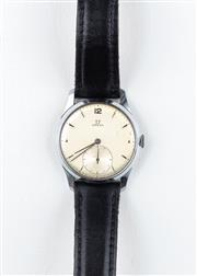 Sale 8770 - Lot 67 - A Vintage Omega Wristwatch; gold plated head, brushed dial, sunken subsidiary seconds, 15 jewel cal. 265 manual movement, stainless...