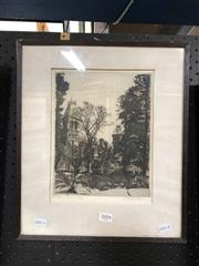 Sale 8779 - Lot 2004 - Gayfield Shaw, Presbyterian Ladies College, etching, 37 x 32cm (frame size) signed lower right