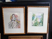 Sale 9077 - Lot 2012 - Eva Hannah (2 works) Tropical Garden; The Madame and Interior acrylic on paper  64 x 52cm (frames), signed