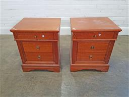Sale 9174 - Lot 1349 - Pair of modern timber 4 drawer bedside chests (h:70 x w:58 x d:47cm)