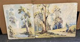 Sale 9176 - Lot 2128 - Adrian French (2 works) Country NSW Landscapes, 1960soil on board, 45 x 53cm; 46 x 36c,m, signed