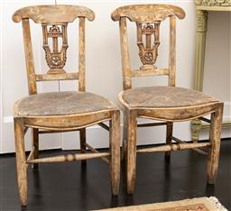 Sale 9248H - Lot 221 - A pair of old Italian single chairs, height of back 88cm