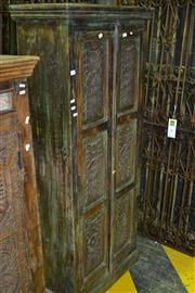 Sale 8013 - Lot 1486 - Tall Teak Cabinet with 2 Carved Panel Doors (306)