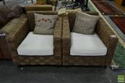 Sale 8499 - Lot 1346 - Pair of Rope Form Cubed Armchairs