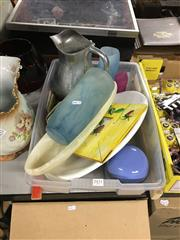 Sale 8702 - Lot 2451 - Tub of Sundries incl. Jug, Vases, Picture, etc