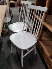 Sale 8740 - Lot 1146 - Set of Six Spindle Back Dining Chairs in White