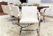 Sale 8838H - Lot 82 - A set of eight ivory leather and chrome open armchairs. (K to base) Height of back 80cm, Width 58cm