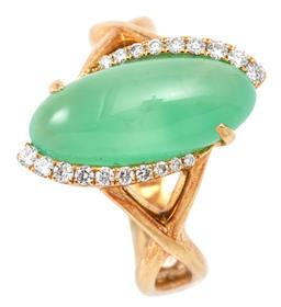 Sale 9132 - Lot 480 - AN 18CT GOLD DIAMOND AND STONE SET RING; centring a navette shape cabochon chrysoprase, 16.4 x 7.3mm, flanked by 19 round brilliant...