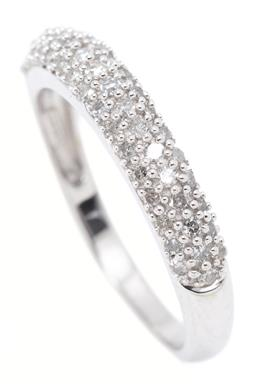 Sale 9164J - Lot 487 - A 10CT WHITE GOLD HALF HOOP DIAMOND RING; 3.6mm wide band pave set across the top with 49 single cut diamonds, size N1/2, wt. 2.4g.