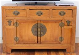 Sale 9190H - Lot 441 - A Chinese elm sideboard with brass fittings, with five drawers and two doors, Height 93cm x Width 141cm x Depth 48cm