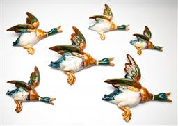 Sale 9209V - Lot 11 - A collection of six Beswick graduating wall ducks - some heavy repairs (L:25cm - largest)