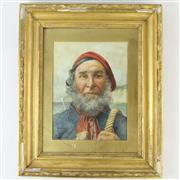 Sale 8399 - Lot 16 - Claude Pratt The Old Fisherman Watercolour