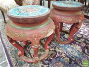 Sale 8428 - Lot 1002 - Pair of Chinese Red Lacquered Stools or Pedestals, with cloisonne panels to top, incised with lotus flowers (distressed)