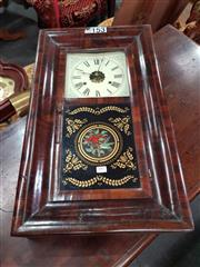 Sale 8717 - Lot 1097 - 19th Century American E N Welch Walnut Wall Clock, with painted dial & partially revealed movement, the lower panel printed with hum...
