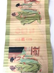 Sale 8732W - Lot 50 - Chinese scroll with images of various figures, calligraphy detail etc.