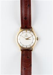 Sale 8770 - Lot 69 - A Vintage 14ct Gold Filled Omega Wristwatch; brushed dial, centre seconds, 17 jewel cal. 354 bumper automatic movement, case diam. 3...