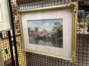 Sale 8779 - Lot 2025 - Alexander Purton - Cottage and River Scene, watercolour, 41 x 51cm (frame size), signed lower right
