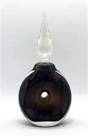 Sale 9031H - Lot 15 - Dichroic Doughnut stoppered bottle by Sean ODonoghue, Noosa Master Glassblower, trained at Waterford Crystal. H 20cm x D 9 cm -
