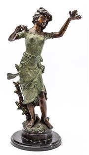 Sale 9083N - Lot 72 - A Morean signed bronze lady on a marble base with a bird in the hand and holding a branch. H53cm