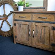 Sale 9075T - Lot 36 - A Hardy Interiors original designed fruitwood sideboard with three drawers and doors and heavy antique iron accents. Centre drawer i...