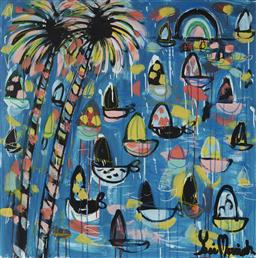 Sale 9099A - Lot 5020 - Yosi Messiah (1964 - ) - Palms Crystal Blue, 2020 85 x 85 cm
