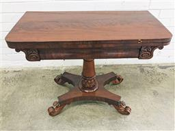 Sale 9097 - Lot 1080 - Regency Mahogany Fold-Over Card Table, with tooled green leather interior, raised on gun barrel pedestal with quadraform base with c...