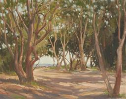 Sale 9099A - Lot 5009 - William Tootill (? - 2009) - Dappled Light Through Trees, Sydney Harbour 39 x 49.5 cm (frame: 55 x 65 x 4 cm)