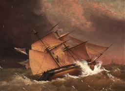 Sale 9125 - Lot 605 - Artist Unknown (C19th) - The Harlequin Yacht off the Lands End, Jan 1836 26 x 36 cm (frame: 41 x 52 x 4 cm)