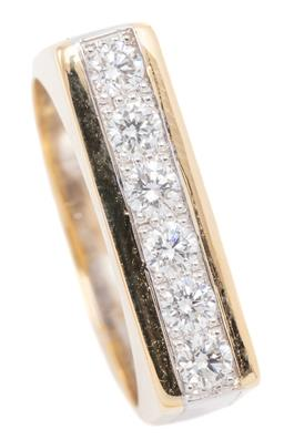 Sale 9132 - Lot 467 - AN 18CT GOLD DIAMOND RING; 19 x 5mm long rectangular top pave set with 6 round brilliant cut diamonds totalling approx. 0.36ct betwe...